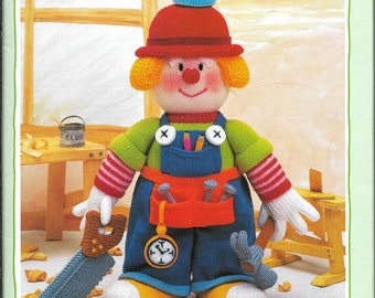 Jean Greenhowe's TRADESMEN CLOWNS, Doll Knitting Pattern Book, Red Nose Gang - Part Four, Carpenter, Fixit, Plumber and Accessories, 1995