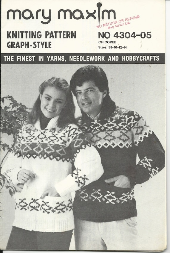 Knitting Pattern Mary Maxim Vintage Sweater Graph Style Etsy