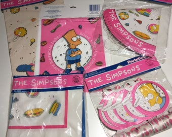 THE SIMPSONS Birthday Party Favors 1990 Large Lot Party for 6, Hats, Loot bags, Medallion Blowouts, Napkins, Gift Wrap, New in Package