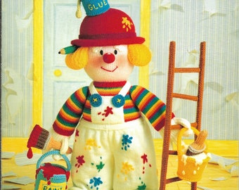 Jean Greenhowe's KNITTED CLOWNS Patterns, The Red Nose Gang - Painter Doll, Chef, Traveler, Gardener Doll, Snoozer- 5 Doll Patterns 1992