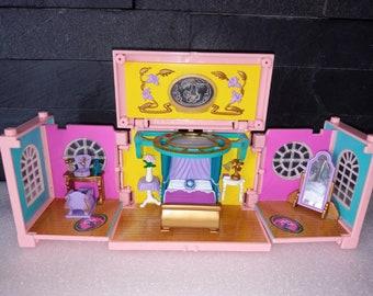 POLLY POCKET BEDRROM, 1999 Dream Builder, Bedroom Level Stacker by Bluebird, Bed, Mirror, Dresser, Nightstands, No Figures, Vintage