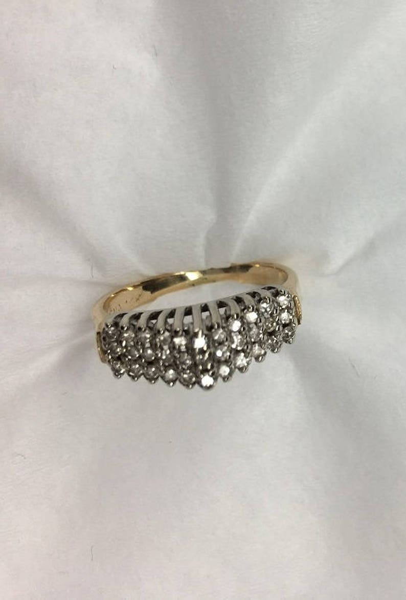 STAIRWAY TO HEAVEN Diamond Ring 14kt Yellow Gold Ring with Appraisal of  1475 00- Triple Row of 30 Brilliant Diamonds - Vintage Canadian Ring