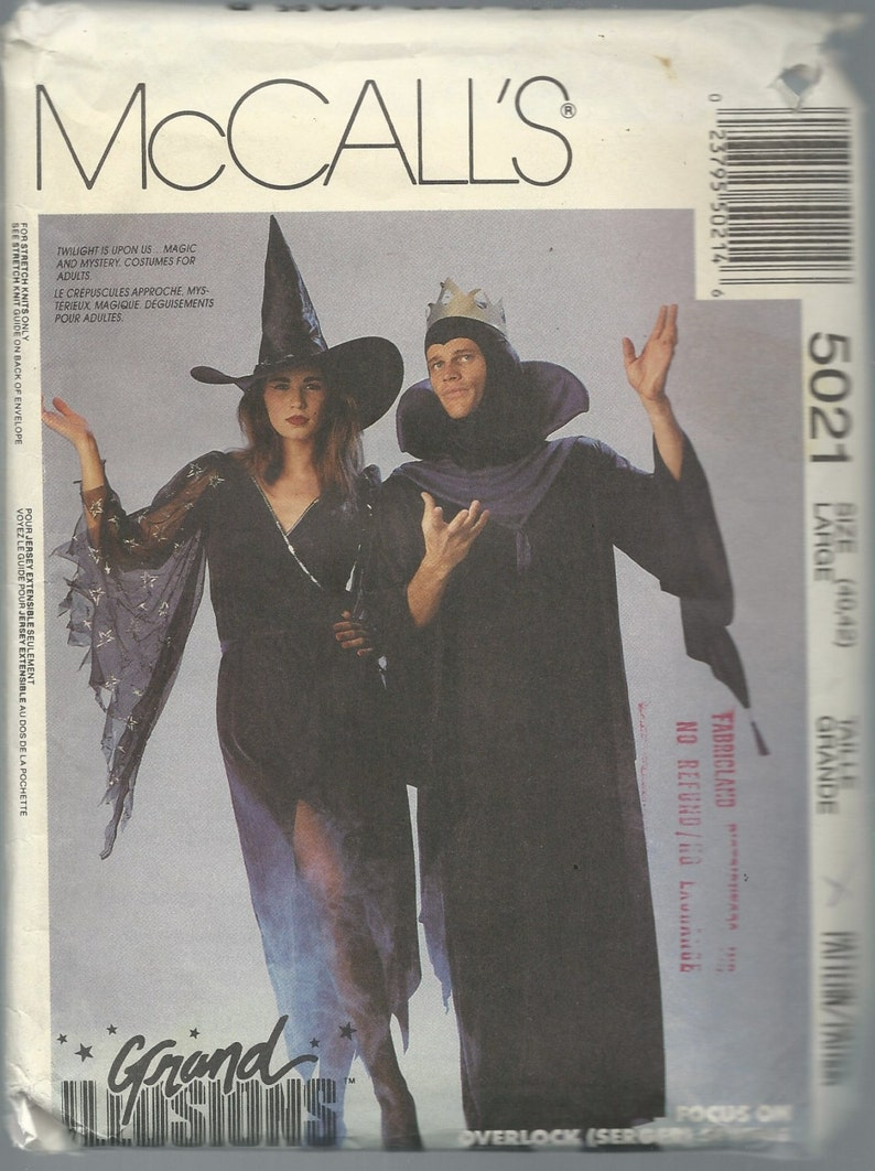 Costume Sewing Pattern, McCall's 5021, ADULT Male Female, WITCH & WIZARD  Grand Illusions Costumes, Magic, Wizard Pattern, Witch Pattern