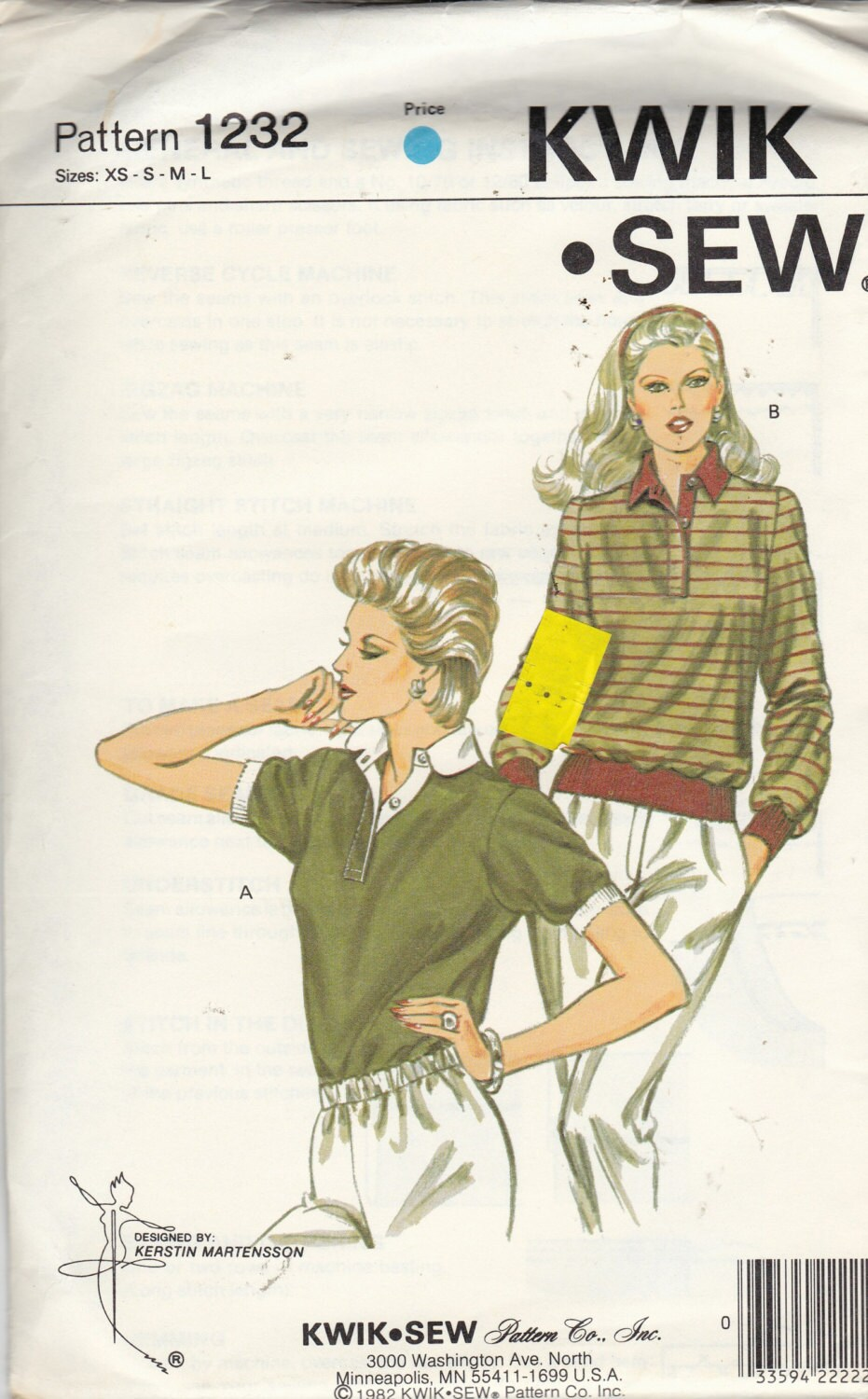 Uncut Kwik Sew Pattern 1232 MISSES TOP / SHIRTS With