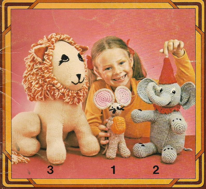Crochet & Knit Patterns Lion Mouse Elephant Santa Puppet image 0