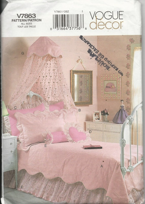 VOGUE GIRL\'S BEDROOM Decor Pattern V7863, Bed Canopy, Bedspread, Shams,  Neck Roll, Heart Pillow, Bed skirt, Sewing Pattern Uncut