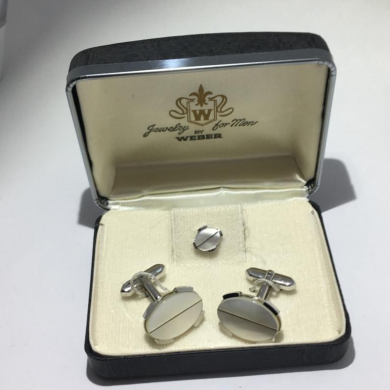 Box Set Shirt Black Tie Napkin Hook Sterling Silver Mother Pearl Cufflinks