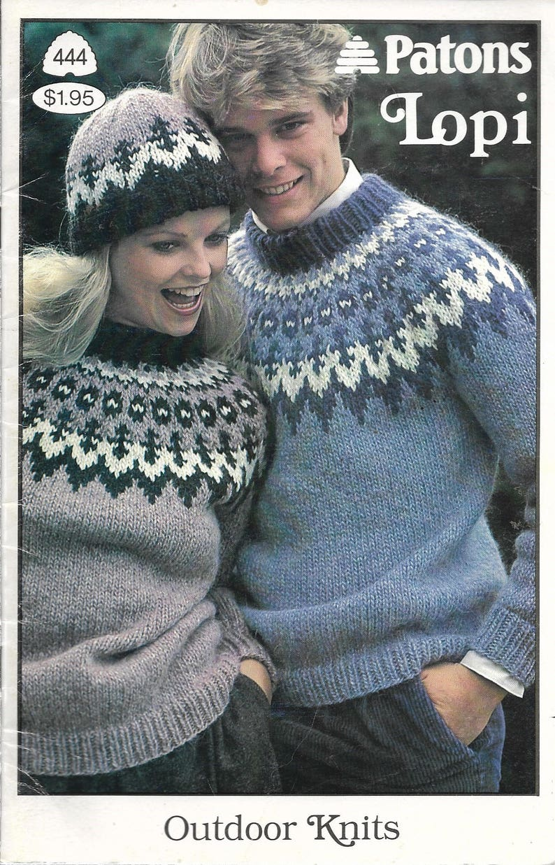 7e793710362200 1980s Knitting Patterns FAIR ISLE SWEATERS Patons Lopi