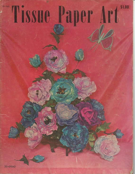TISSU vintage papier CRÉPON livre d'Art - modèles de faire - fleurs, Collages, Pinatas, Noël, douche et décorations de mariage, centres de table