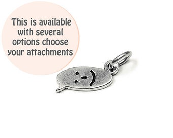 Happy Face Text Chat Charm Sterling Silver 15mm, silver Smile Charms, Sterling Silver Charms, Smile Face Text Chat charms - SP856