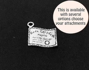 Birth Certificate Charm Sterling Silver 15mm, silver Birth Certificate Charms, Sterling Silver Charms, Birth Certificate charms - SP304