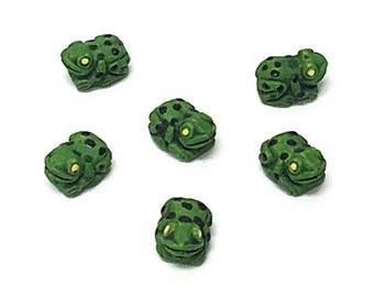 CB72 10 Tiny Frog Beads dark green