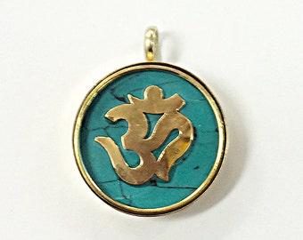 Pendant Namaste Yoga Tibetan Brass Om Round Charm