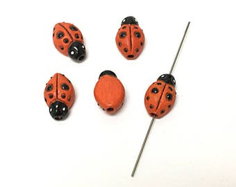 French Ceramic Red Black Lady Bug Figurine