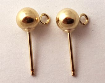 1cb2f7c5c 5mm Gold-Filled Ball Post with loop Earring, 14k Gold-Filled Findings Gold  Post Earring 5 Pair (10 Pc), Gold ball post earrings - GF505-10