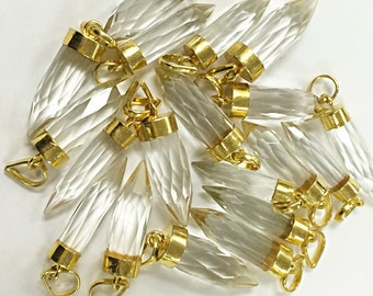 """Crystal quartz Spike Faceted Charm Pendant 1.4"""" with 24K gold electroplated cap, minimalist jewerly, Crystal Charm pendant - AP305"""