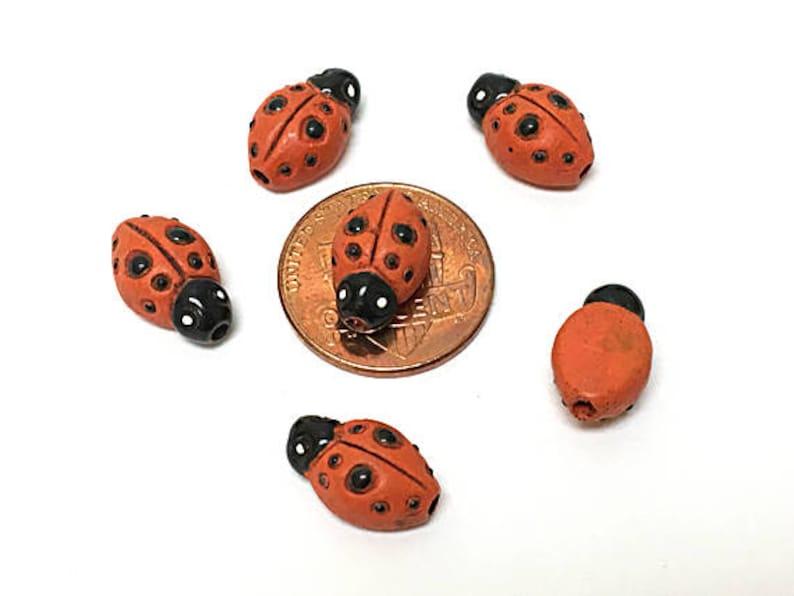 CBS Peruvian Beads 10 or 20 Orange Red  Lady bug Beads 08 Ceramic Beads Insect Beads Lots of 4 Tiny Ladybug Orange Red Beads