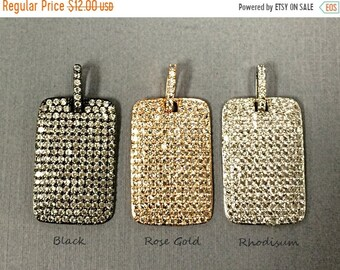 25% OFF Micro-Pave Dog Tag Pendant, Micropave CZ Cubic Zirconia Tag Pendant, AAA Quality, Choose Color 27mm x 18mm - BMPTag-Xx