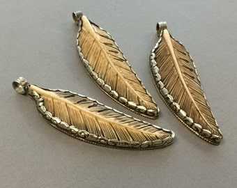 "Bone feather Nepal Large 3.5"" Bone Feather Pendant Silver framed and backed with Repousse work, Carved Antidgued Bone Pendant - AP452S"