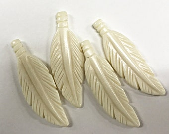 2 Pc White Carved Bone Feathers, 2.5 Inch, 64mm x 21mm, Tribal, Native American, Bone Feather Pendants & Earrings - B150-2