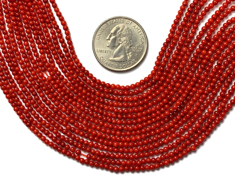 2.5mm Red Dyed Coral Round Beads SCOR103 160 Beads Full 16.5 Strand Approx Red Gemstone Beads