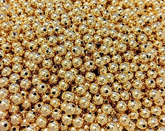 4mm Round Gold Filled Beads, 4mm Seamless Round Bead 14K Gold Filled Beads 25Pcs -GB204-25