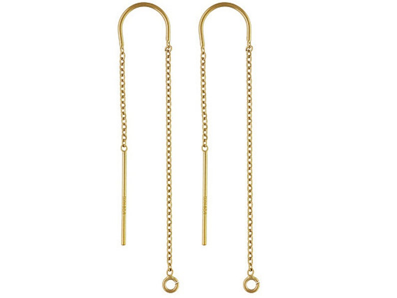 5c07f80865b16 Threader Earrings 14K Gold Filled, U threader ear threads Cable chain Drop  with ring 3.5