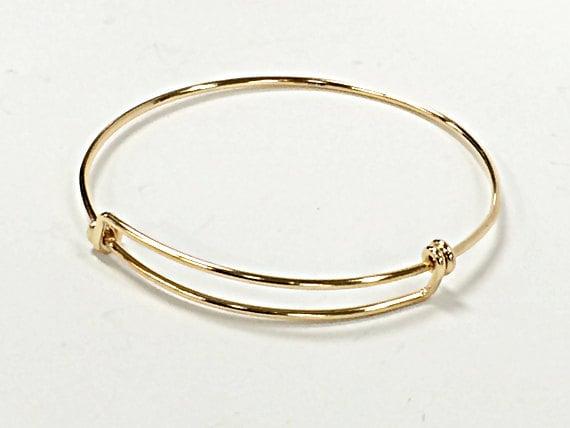 14K Gold Filled Bangle Bracelet, Bracelet breloques réglable, 8-9,5 pouces, personnalisé Bracelet jonc, Bracelet à breloques Bracelet - BBNGA02 c0d6a8
