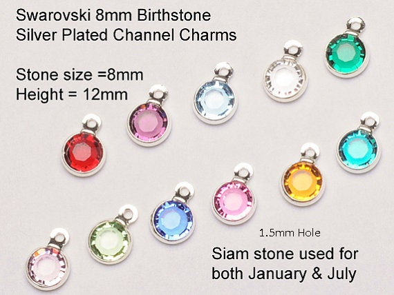 Swarovski Birthstone Channel Charms Gold Plated 4mm Round Choose Set Size