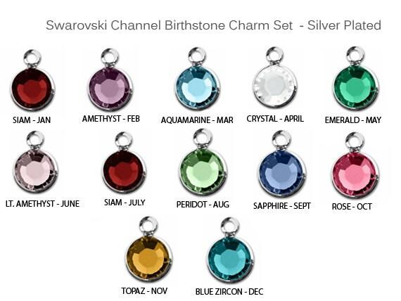 12 pcs Swarovski Birthstones Channel Charms Silver Plated (1 Set) CC6S, 6mm  Stone swarovski birthstone crystal charms -CC6S-SET12