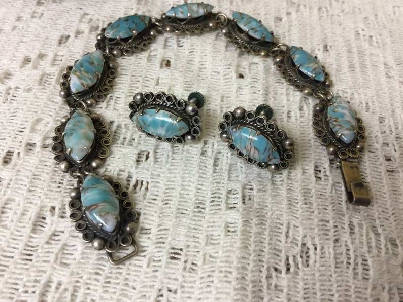 Vintage Mexican Sterling Stone Bracelet and Earrings