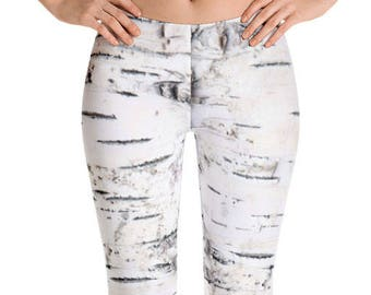 Birch Tree Bark Leggings. Great for costumes, hunting. Polyester & Spandex Blend. Size XS-XL. Printed and Sewn in USA.
