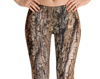 Tree Bark Print Leggings. Great for costumes, hunting. Polyester & Spandex Blend. Size XS-XL. Printed and Sewn in USA.