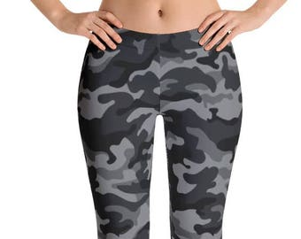 Women's Black Camouflage Leggings. Full, Yoga or Capri Length. Polyester & Spandex. Size XS-XL. Printed and Sewn in USA. Spandex. Work Out.