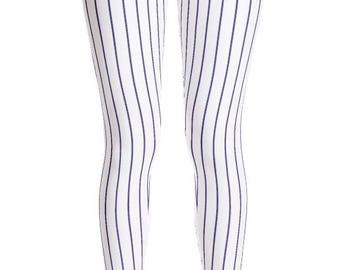 Women's Blue Pinstripe Baseball Leggings. Full, Yoga or Capri Length. Polyester & Spandex. Size XS-XL. Printed and Sewn in USA. Work Out.