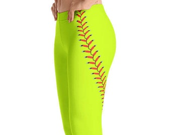 8091d93ab87f0 Women's Softball Stitching Print Leggings. Full or Capri Length. Polyester  & Spandex Blend. Size XS-XL. Printed and Sewn in USA.