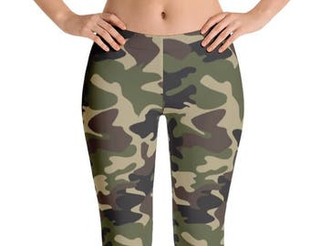 Women's Camouflage Leggings. Full, Yoga or Capri Length. Polyester & Spandex. Size XS-XL. Printed and Sewn in USA. Spandex. Work Out.