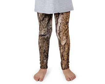 Children's Tree Bark Leggings. Kids' 2T-6X. Polyester & Spandex Blend. Designed, Printed and Sewn in USA. Sublimated Print.