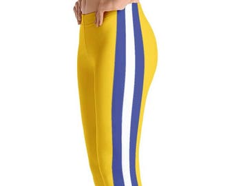 Women's Gold Leggings With Blue and White Stripes. Full, Yoga or Capri Length. Polyester & Spandex. Size XS-XL. Printed and Sewn in USA.