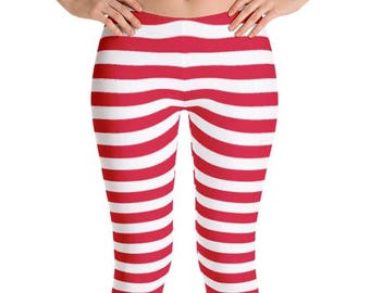 b12cfd59d7e3d Women's Red and White Striped Leggings. Spandex Polyester Blend. Sublimated  Print. Capri, Full or Yoga style. Printed and Sewn in USA.