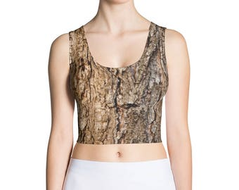 Tree Bark Print Crop Top. Great for costumes, hunting. Polyester & Spandex Blend. Size XS-XL. Printed and Sewn in USA.