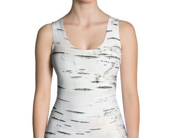 Birch Tree Bark Print Tank Top. Great for costumes, hunting. Polyester & Spandex Blend. Size XS-XL. Printed and Sewn in USA.