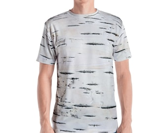 Birch Tree Bark Print T-Shirt. Great for costumes, hunting. Polyester & Spandex Blend. Size XS-XL. Printed and Sewn in USA.