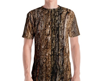 Tree Bark T-Shirt. Great for costumes, hunting. Polyester & Spandex Blend. Size XS-XL. Printed and Sewn in USA.