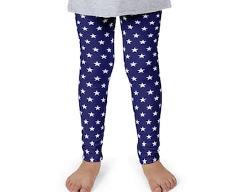 Children's White Star on Blue Print Leggings. Kids' 2T-6X. Polyester & Spandex Blend. Designed, Printed and Sewn in USA. Sublimated Print.