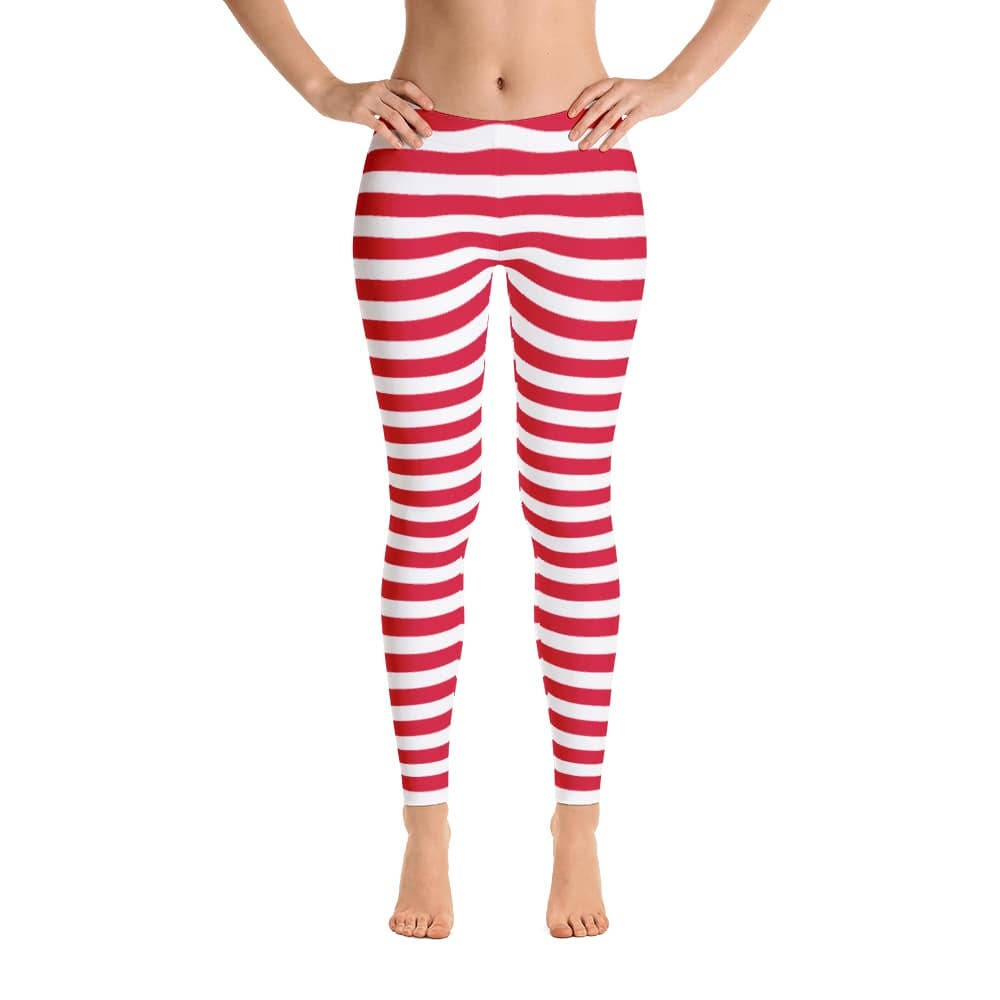 021af7dd2efe1 Women's Red and White Striped Leggings. Spandex Polyester | Etsy