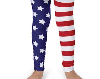 Children's American Flag Print Leggings. Kids' 2T-6X. Polyester & Spandex Blend. Designed, Printed and Sewn in USA. Sublimated Print.