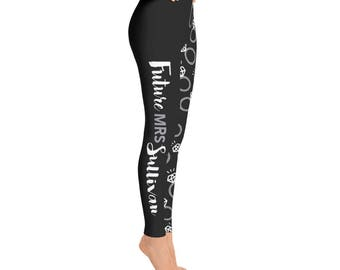 Women's Future Mrs. Leggings - Custom - Add Last name in Notes to Seller Section - Spandex Polyester Blend - Bachelorette, Bride, Wedding