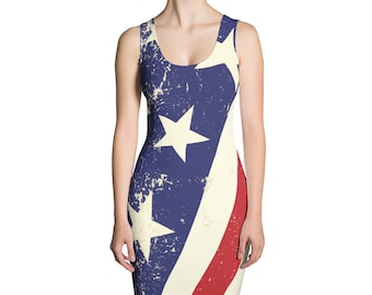 American Flag Dress. Sizes XS-XL. Great for Memorial day or 4th of July. Made in the USA. Polyester Spandex blend, Sublimated Print.