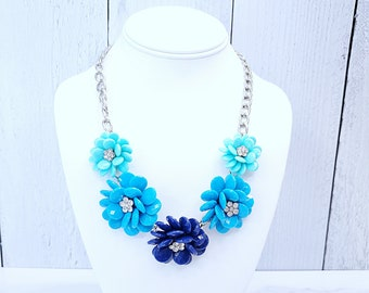 Statement Necklace Crystal Statement Necklace Pink Flower Statement Necklace Bib Necklace Weddings BRIDESMAIDS Prom Necklace Blue Necklace